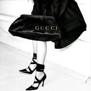 GUCCI Tom Ford Era Ribbon Tie Up Leather Heels